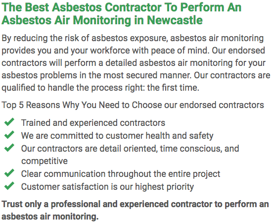 Asbestos Watch Newcastle - air monitoring left