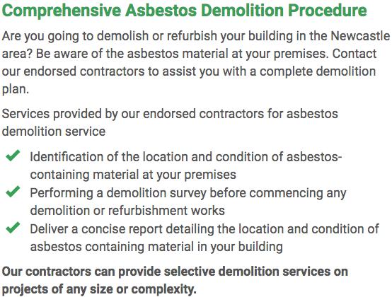 Asbestos Watch Newcastle - demolition right