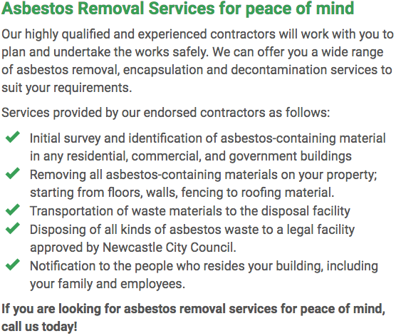 Asbestos Watch Newcastle - removal right