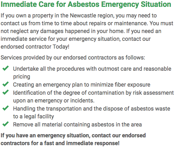 Asbestos Watch Newcastle - emergency repairs Newcastle