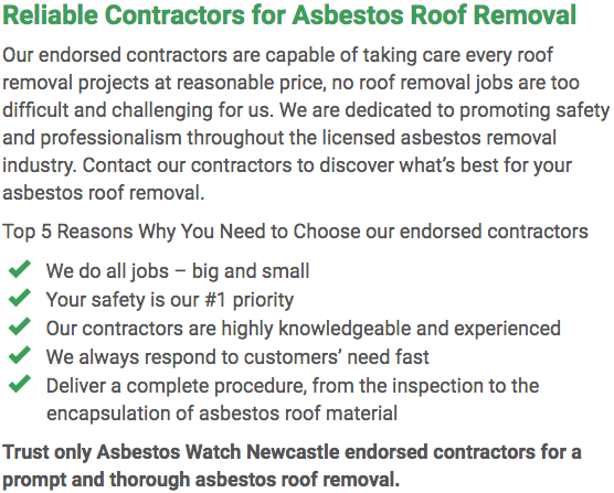 Asbestos Watch Newcastle - roof removal left