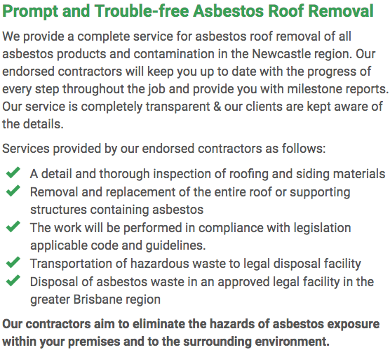 Asbestos Watch Newcastle - roof removal right